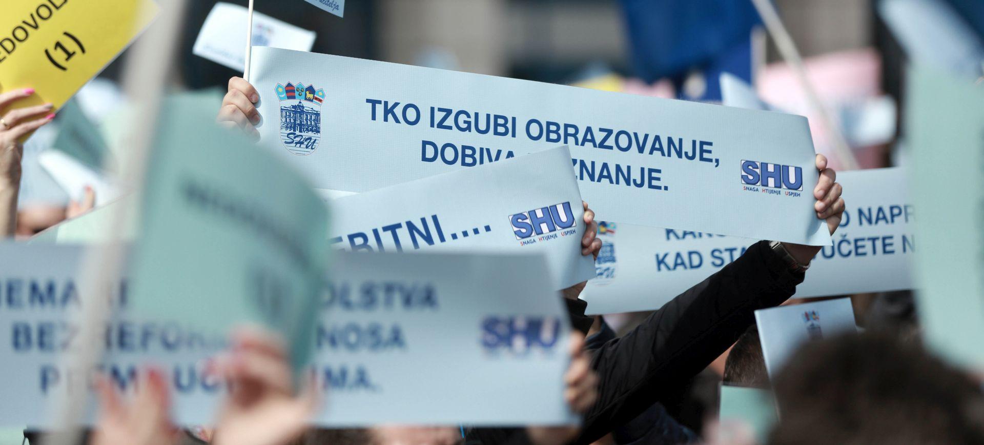 Prosvjed SHU: 'Tražimo potpisivanje novog kolektivnog ugovora'