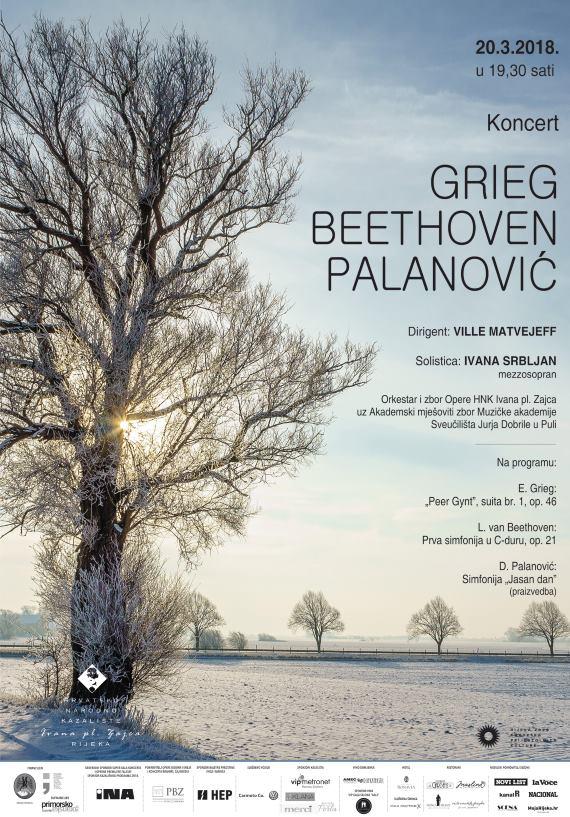 Simfonijski koncert 'Grieg, Beethoven, Palanović' u HNK Ivana pl. Zajca