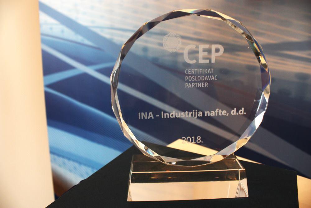 INA i sedmi put potvrdila Certifikat Poslodavac Partner te certificirala pet najvećih ovisnih društava INA Grupe