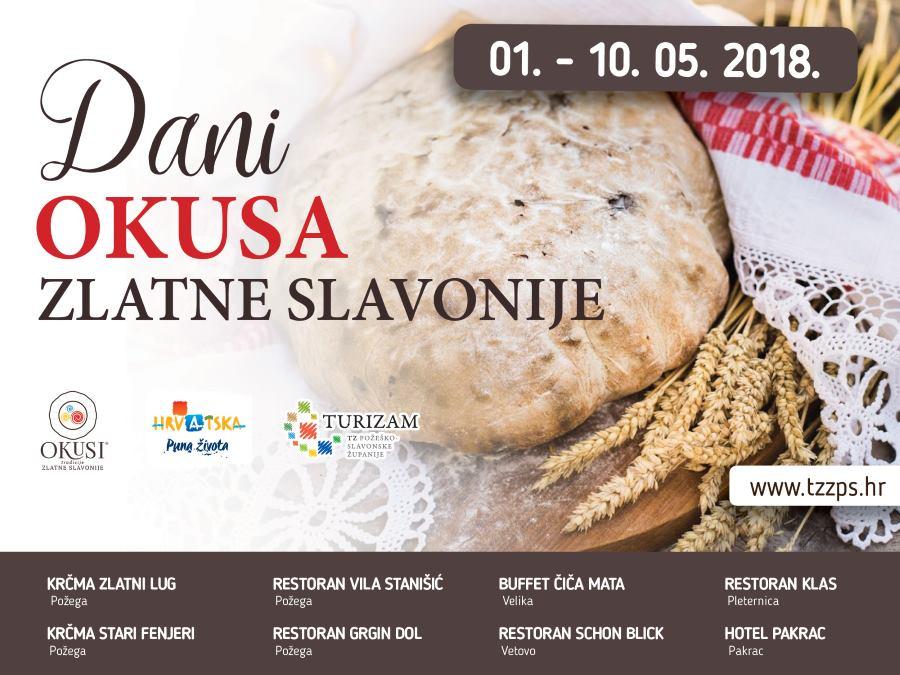 Mjesec svibanj donosi i eno-gastro manifestaciju 'Dani okusa Zlatne Slavonije'