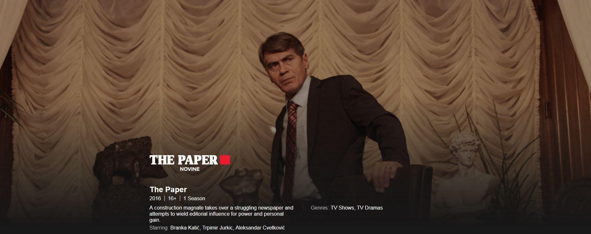 Serija 'Novine' dostupna na Netflixu u 190 zemalja svijeta