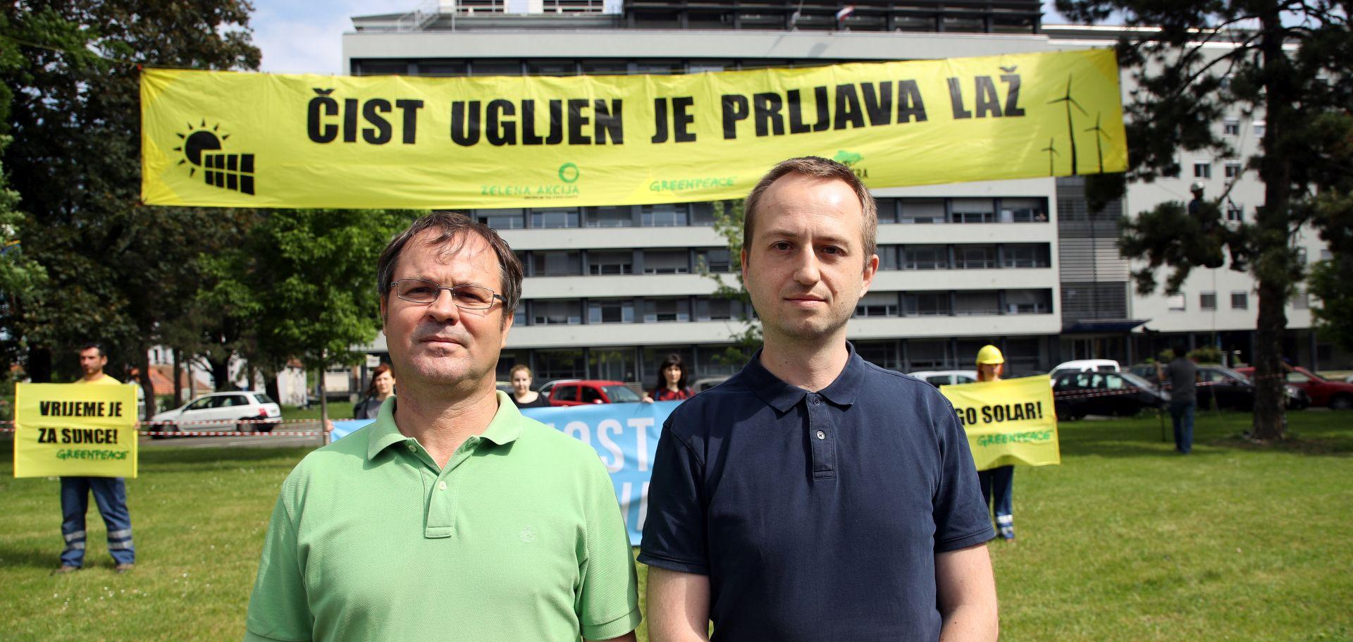 Prosvjed Greenpeacea i zelenih pred zgradom HEP-a