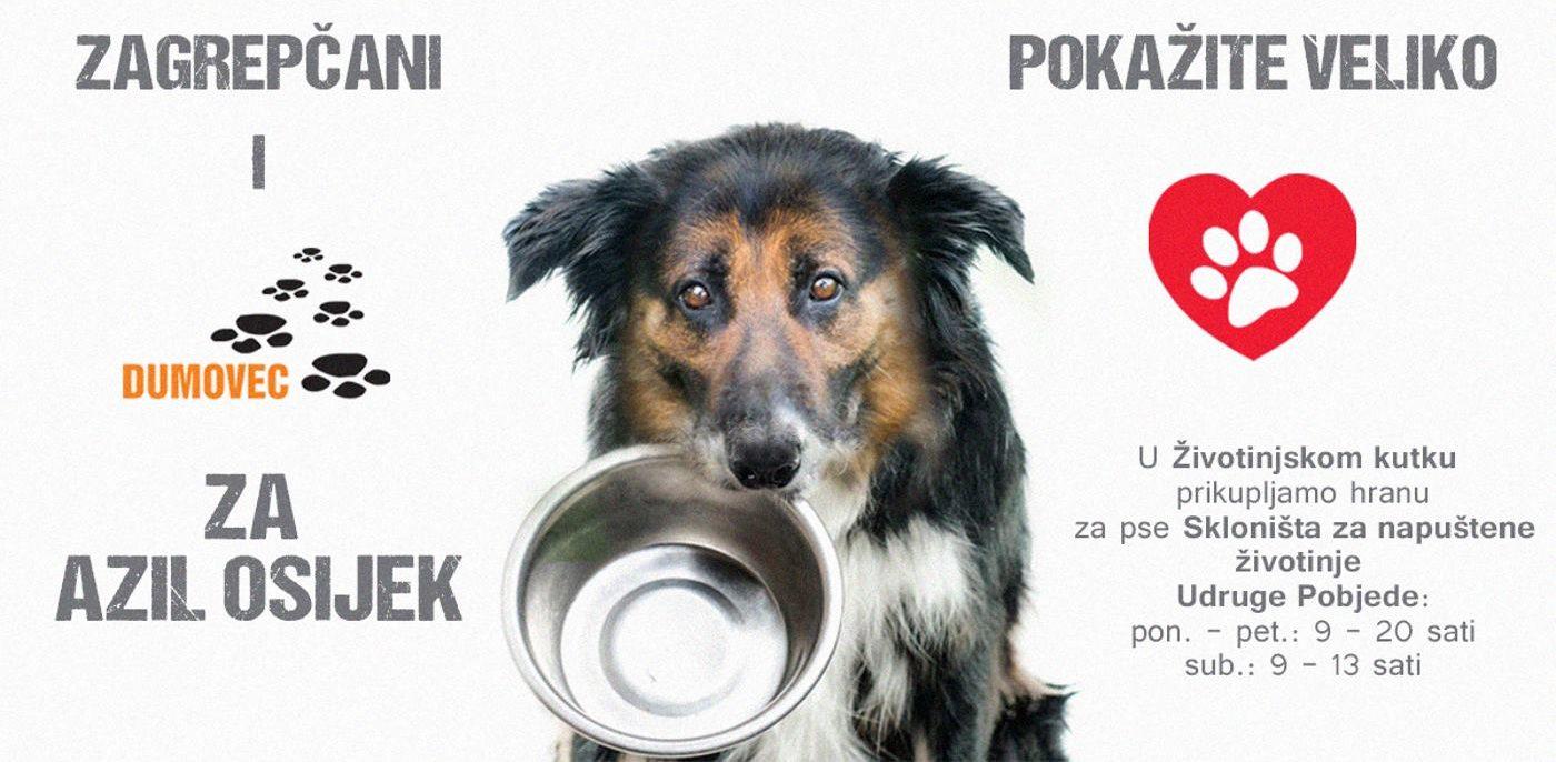 Prikupljanje hrane za napuštene pse Azila Osijek