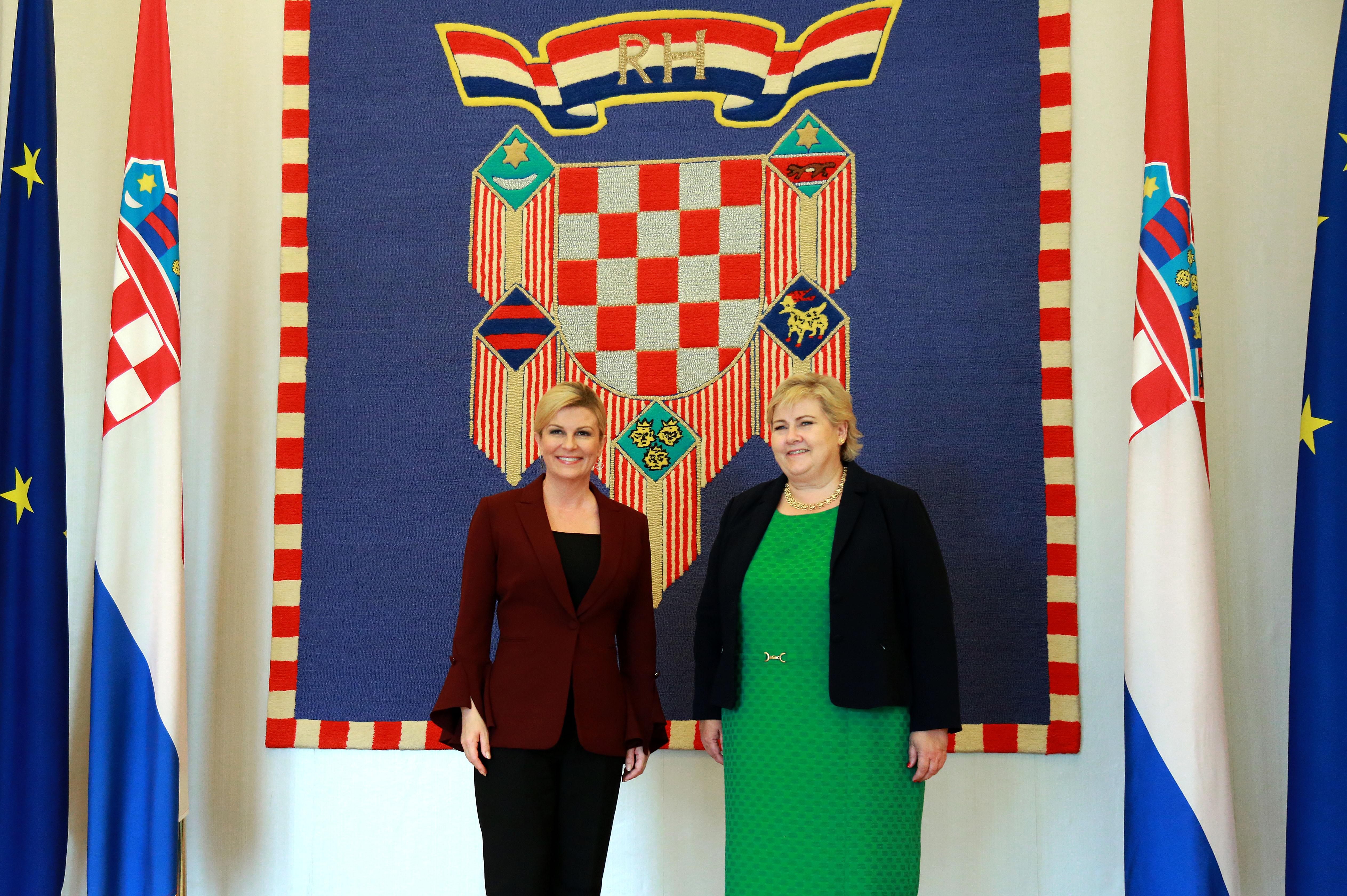 Predsjednica Grabar-Kitarović primila norvešku premijerku Ernu Solberg