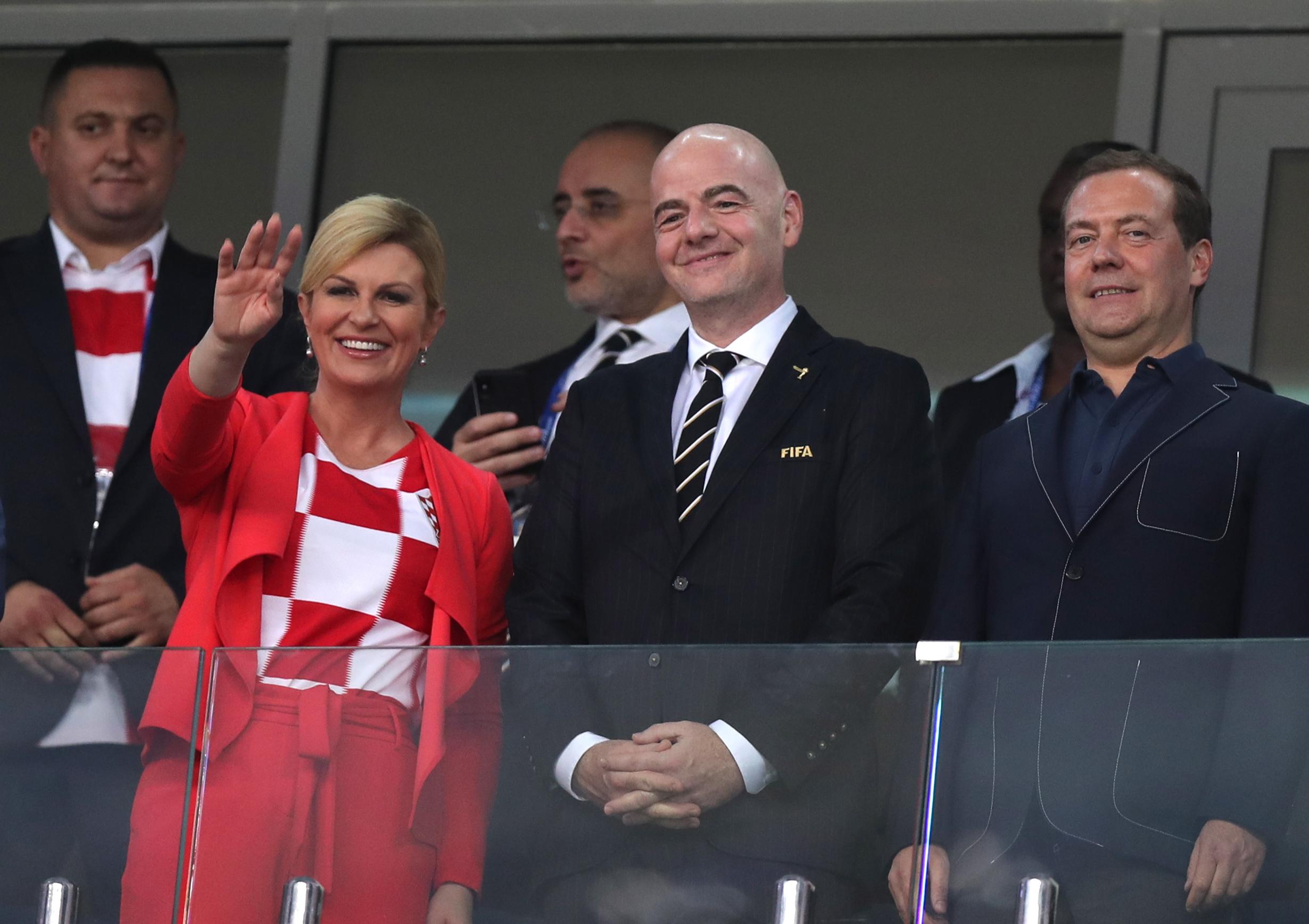 Medvedev, Grabar-Kitarović i Infantino na utakmici Rusija-Hrvatska