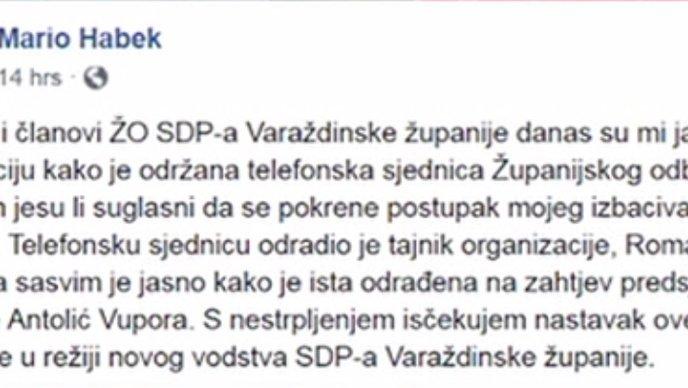 VIDEO Mario Habek pred isključenjem iz SDP-a