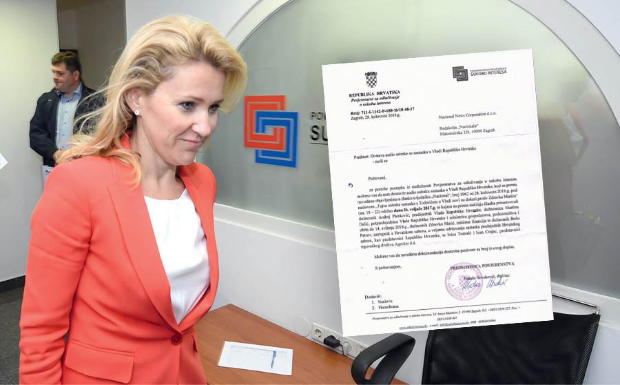 ŠEFICA POVJERENSTVA za sukob interesa traži snimku sa sastanka s Todorićem