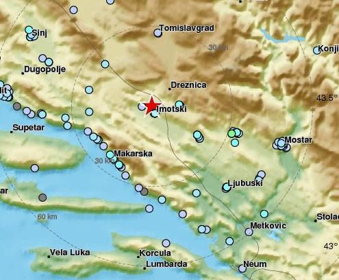 IMOTSKI Potres jačine 4,2 stupnja