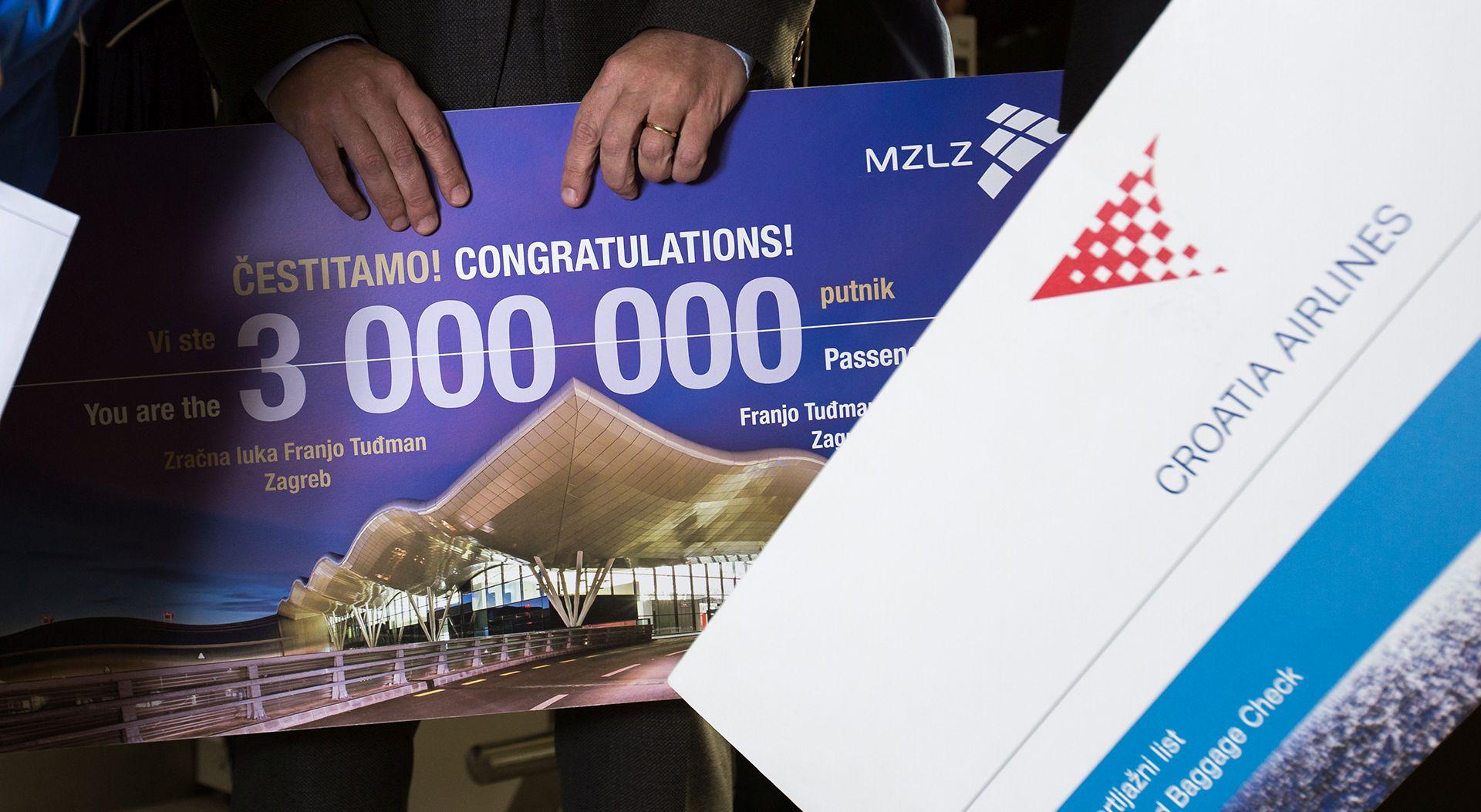 FOTO: Zračna luka Franjo Tuđman bilježi tromilijuntog putnika
