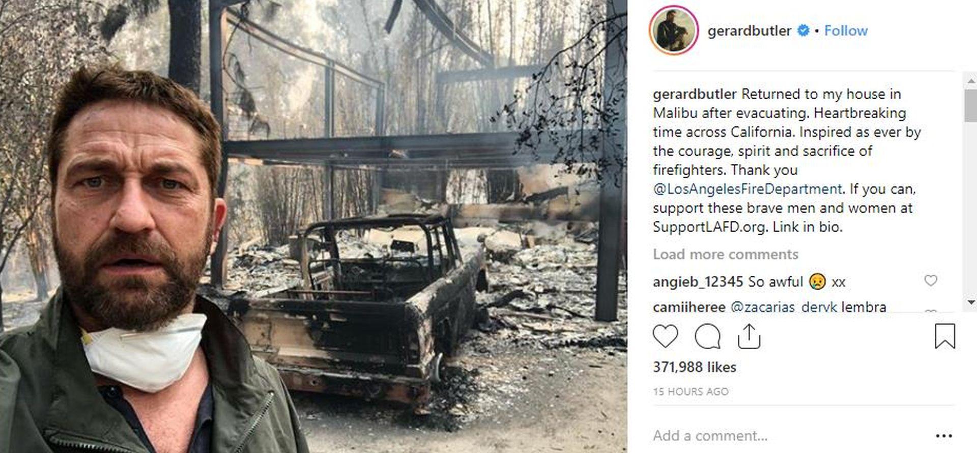 KUĆE SLAVNIH IZGORJELE U POŽARU: Gerard Butler podijelio fotografiju izgorenog doma u Malibuu