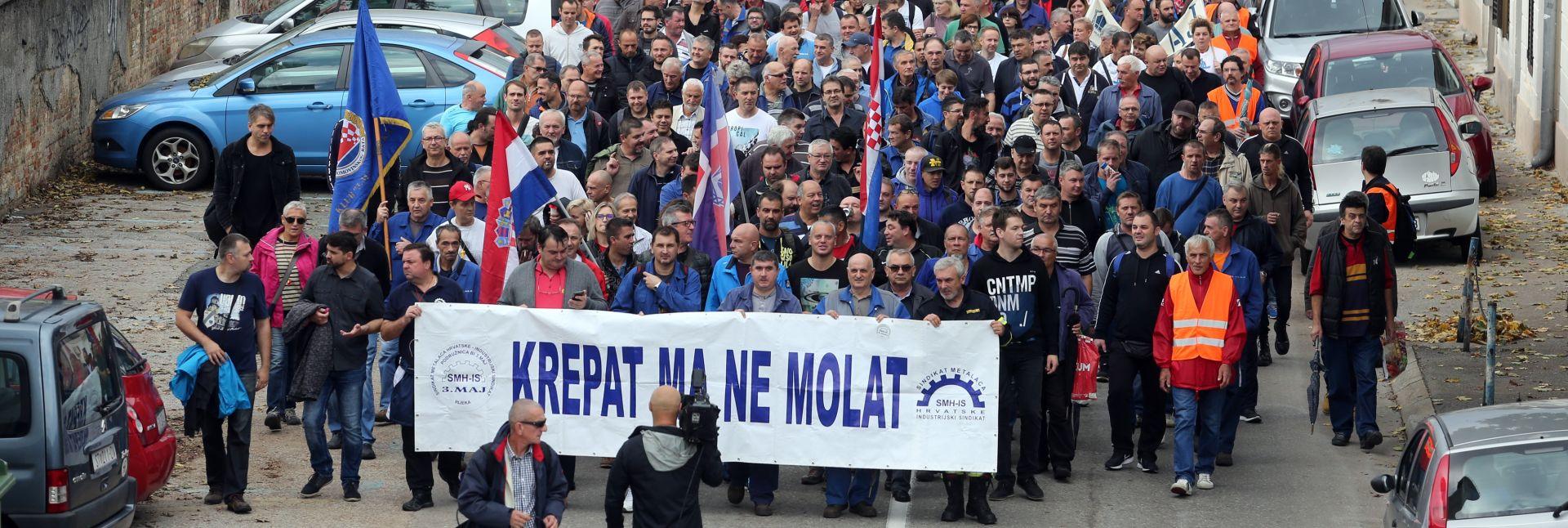 RIJEKA  Radnici 3.maja u prosvjednom maršu za opstanak brodogradnje