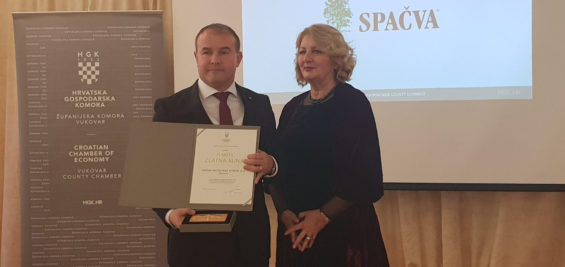 Spačva primila priznanje Zlatna kuna od Gospodarskog vijeća Županijske komore Vukovar