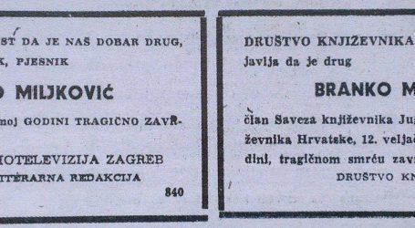 Tragičan kraj pjesnika Branka Miljkovića