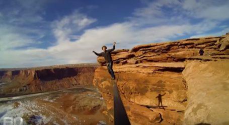 VJEŠTINA: Ekstremni sportaš Andy Lewis uživa u hodanju po žici