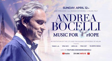 Andrea Bocelli za Uskrs nastupa u Duomu, besplatni prijenos na YouTube kanalu