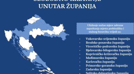 Pogledajte grafički prikaz slobodnog kretanja unutar županija