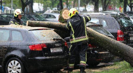 Nevrijeme srušilo stablo na parkirane automobile na Malešnici