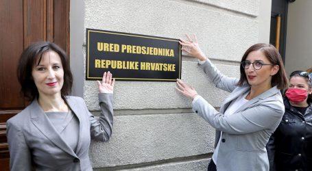 """Orešković i Puljak na zgradu """"Kluba"""" postavile tablu """"Ured predsjednika RH"""""""