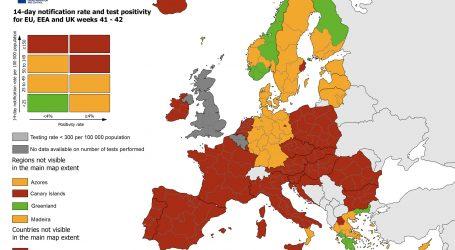 Sve šira crvena zona na ECDC-ovoj karti covida-19 u Europi