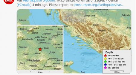 EMSC: Potres od 5 stupnjeva oko 18 sati pogodio sisačko područje