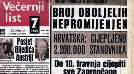 """""""Doba mraka"""": 1972, Hrvatska u tri dana cijepila 2,2 milijuna ljudi, cjepivom iz – Imunološkog zavoda"""