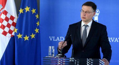 """Dombrovskis: """"Hrvatska sigurno ide prema euru, problem bi mogla biti procijepljenost"""""""